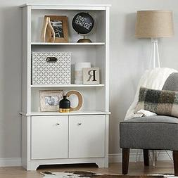South Shore Vito 3-Shelf Bookcase with Doors, Pure White New