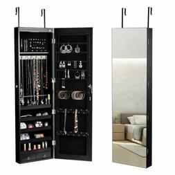 Giantex Wall Door Jewelry Armoire Cabinet With Mirror, 2 Led