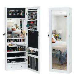 LED Light Mirror Jewelry Armoire Wall Mounted Hung Over Door