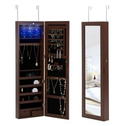 Wall Door Mounted LED Mirrored Jewelry Cabinet Organizer Arm