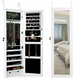 Giantex Wall Mount Jewelry Armoire Cabinet With 15 Led Light