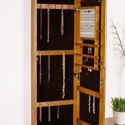 Wall-Mount Jewelry Armoire with Mirror Beveled Storage Bedro