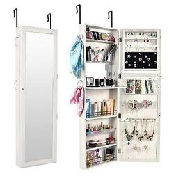 Wall Mount Mirrored Jewelry Cabinet Makeup Armoire Storage O