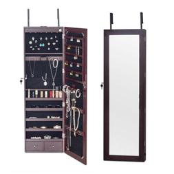 Wall Mount Mirrored Jewelry Cabinet Organizer Armoire Light