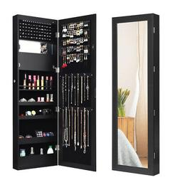 Wall Mounted Jewelry Cabinet Mirror Armoire Organizer LED Gi