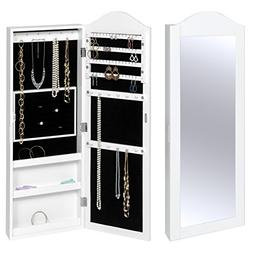 Best Choice Products Wall Mounted Mirror Jewelry Cabinet Arm