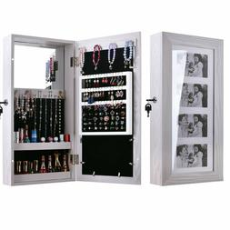 Wall Mounted Mirrored Jewelry Cabinet Armoire Storage Organi