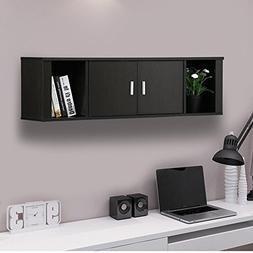 Yaheetech Wall Mounted Wooden Floating Desk with Hutch Stora