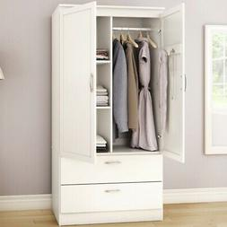 White Armoire Bedroom Clothes Storage Wardrobe Cabinet with