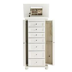 White Jewelry Armoire Wood Storage Box Organizer Mirror Neck