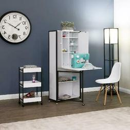 White Craft Table Cabinet Armoire Storage Furniture Folding