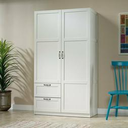 White Finish Armoire Wooden Wardrobe Storage Cabinet Closet