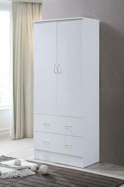 white finish wooden armoire wardrobe storage cabinet