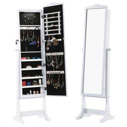 White Free Standing Lockable Jewelry Cabinet Armoire With Fu