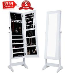 White Lockable Mirrored Jewelry Cabinet Armoire Home Organiz