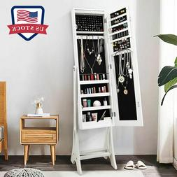White Mirrored Jewelry Lockable Cabinet Armoire Storage Orga