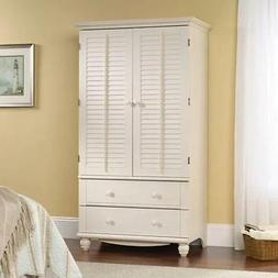 White Storage Armoire 2 Drawers Home Bedroom Living Furnitur