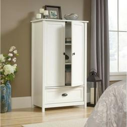 White Two Door Storage Armoire Cabinet Home Living Room Bedr