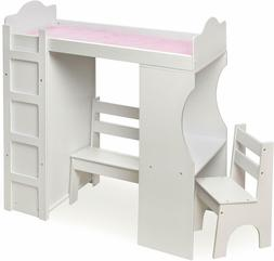 """White Wood 18"""" Doll Loft Bed Desk Chair Clothes Armoire Furn"""