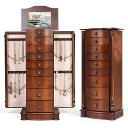 Wood Jewelry Cabinet Armoire Box Storage Chest Stand Organiz