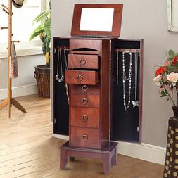Wood Jewelry Cabinet <font><b>Armoire</b></font> Storage Box