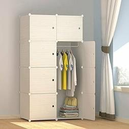 Wood Pattern Portable Wardrobe Closet for Hanging Clothes, C