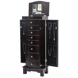 Wood Standing Jewelry Armoire Cabinet Storage Chest with 8 D