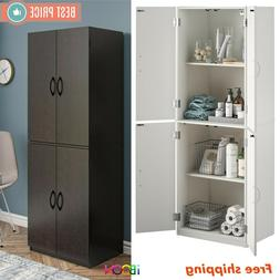 Wood Storage Cabinets With 4 Doors Tall Pantry Cupboard Tall