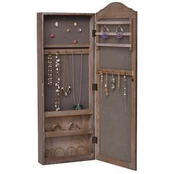 Wood Wall Mounted Tall Dressing Glass Mirror Jewelry Cabinet
