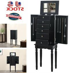 Wooden Jewelry Armoire with Mirror and 5 Drawers Jewelry Sto