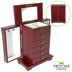 Red Wooden Jewelry Armoire Storage Box Organizer Side Cabine