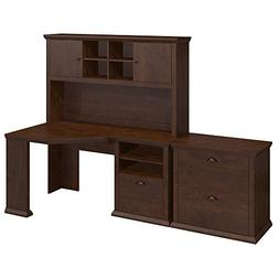 Bush Furniture Yorktown Corner Desk with Hutch and Lateral F